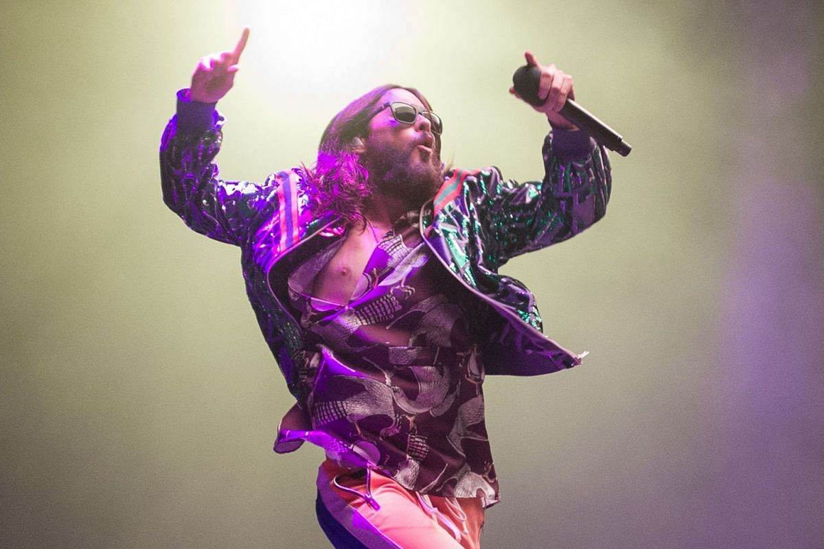 """US singer Jared Leto of band """"Thirty Seconds to Mars"""" performs onstage at the """"Stadthalle"""" in Vienna, Austria, on April 17, 2018. PHOTO: AFP"""