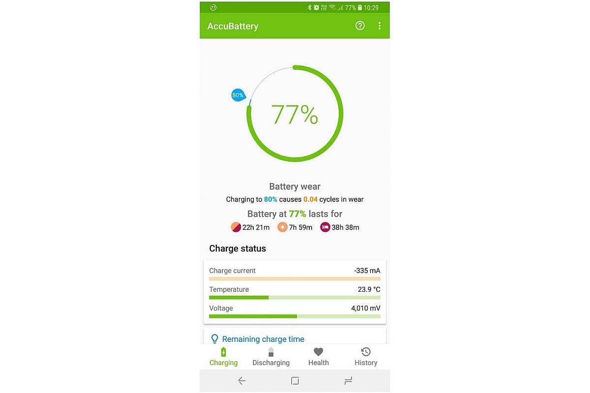 For Android users, the AccuBattery app (above) is handy for estimating the remaining capacity of a smartphone battery.