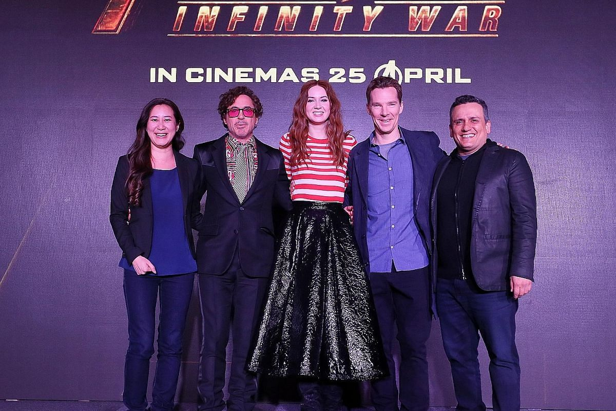 (From far left) Executive producer Trinh Tran, actors Robert Downey Jr, Karen Gillan, Benedict Cumberbatch and director Joe Russo at the Marvel  Avengers: Infinity War press conference at Marina Bay Sands Expo and Convention Centre on Sunday. (From