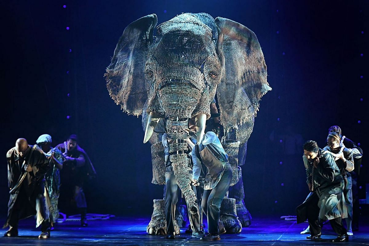Life-size puppet elephant Queenie, weighing 350kg, came to life at Sands Theatre at Marina Bay Sands on April 19, 2018, during the media preview for Circus 1903: The Golden Age Of Circus. PHOTO: THE STRAITS TIMES/ NG SOR LUAN