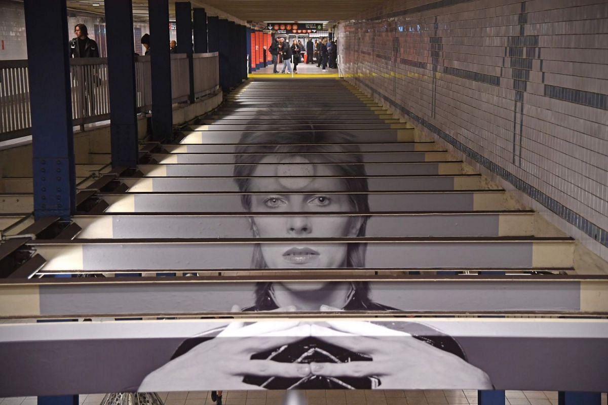 A David Bowie art installation is seen at the Broadway-Lafayette subway station on April 19, 2018 in New York City. PHOTO: AFP