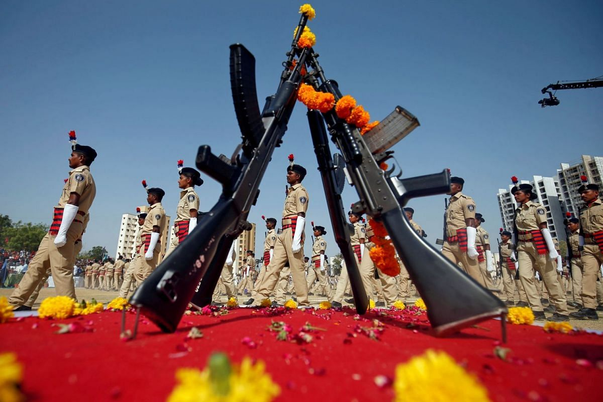 New recruits of Gujarat police take part in their passing out parade in a police stadium in Ahmedabad, India, April 19, 2018. PHOTO: REUTERS