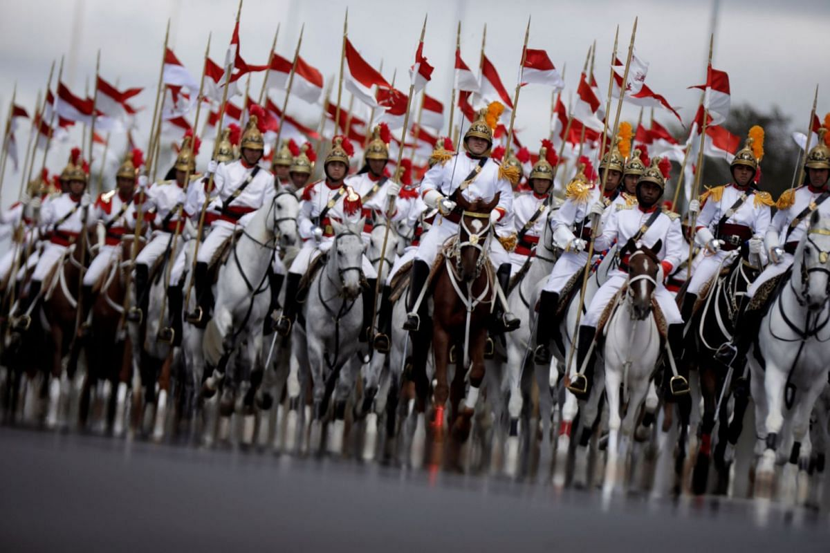 Brazilian soldiers of Armed Forces participate in a parade during an Army Day ceremony, in Brasilia, Brazil April 19, 2018. PHOTO: REUTERS