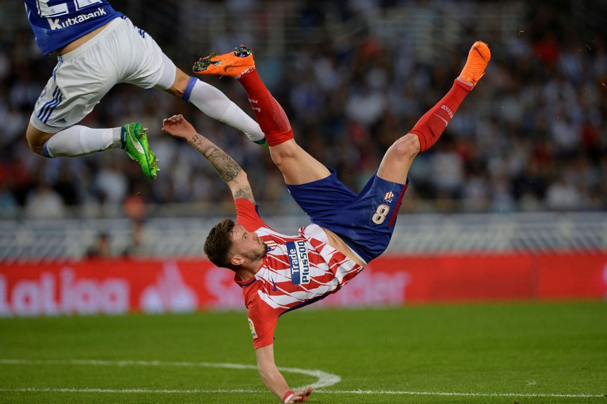 Atletico Madrid's Saul Niguez in action at the Real Sociedad vs Atletico Madrid soccer match in Anoeta Stadium, San Sebastian, Spain on April 19, 2018. PHOTO: REUTERS