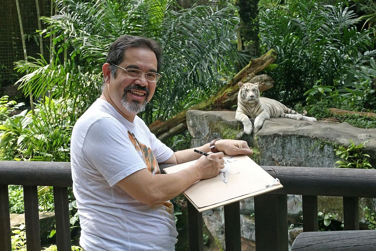Mr Philip Garcia's drawings include those of (from left) Inuka the polar bear, white rhinos, a zebra and the skeleton of a sperm whale. Big cats such as tigers are among Mr Philip Garcia's favourite subjects.