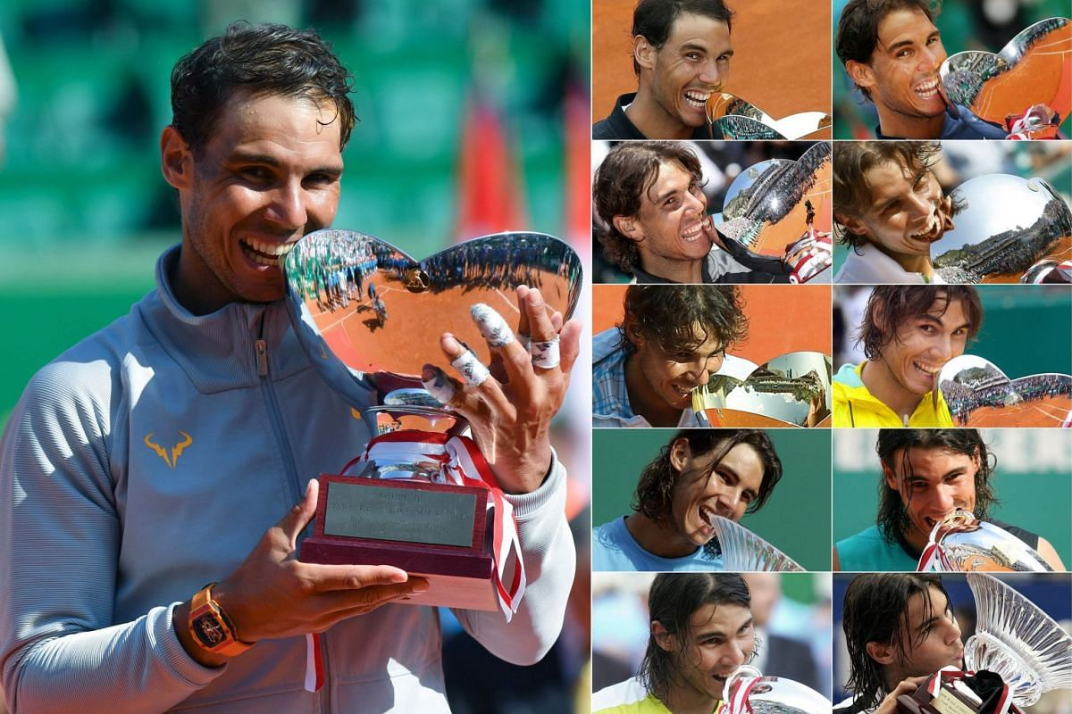 This combination of pictures created on April 22, 2018 shows Spain's Rafael Nadal (L) holding the trophy as he celebrates his win in the final match at the Monte-Carlo ATP Masters Series tournament on April 22, 2018, in Monaco and file photos of Spai