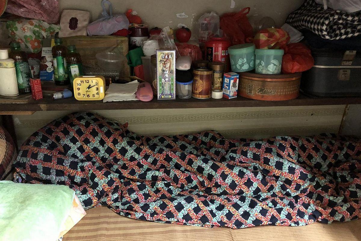 A sleeping area inside a subsidised flat in Hong Kong.