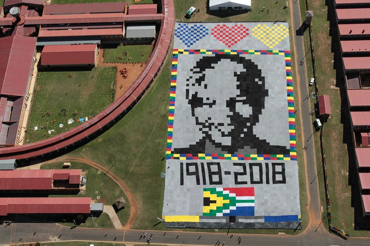 A massive Mandela masterpiece made up of crochet blankets was unveiled at Zonderwater Prison outside Cullinan, South Africa, 24 April 2018. It is in celebration and memory of Nelson Mandela's centenary year. The blankets will be handed out to the nee