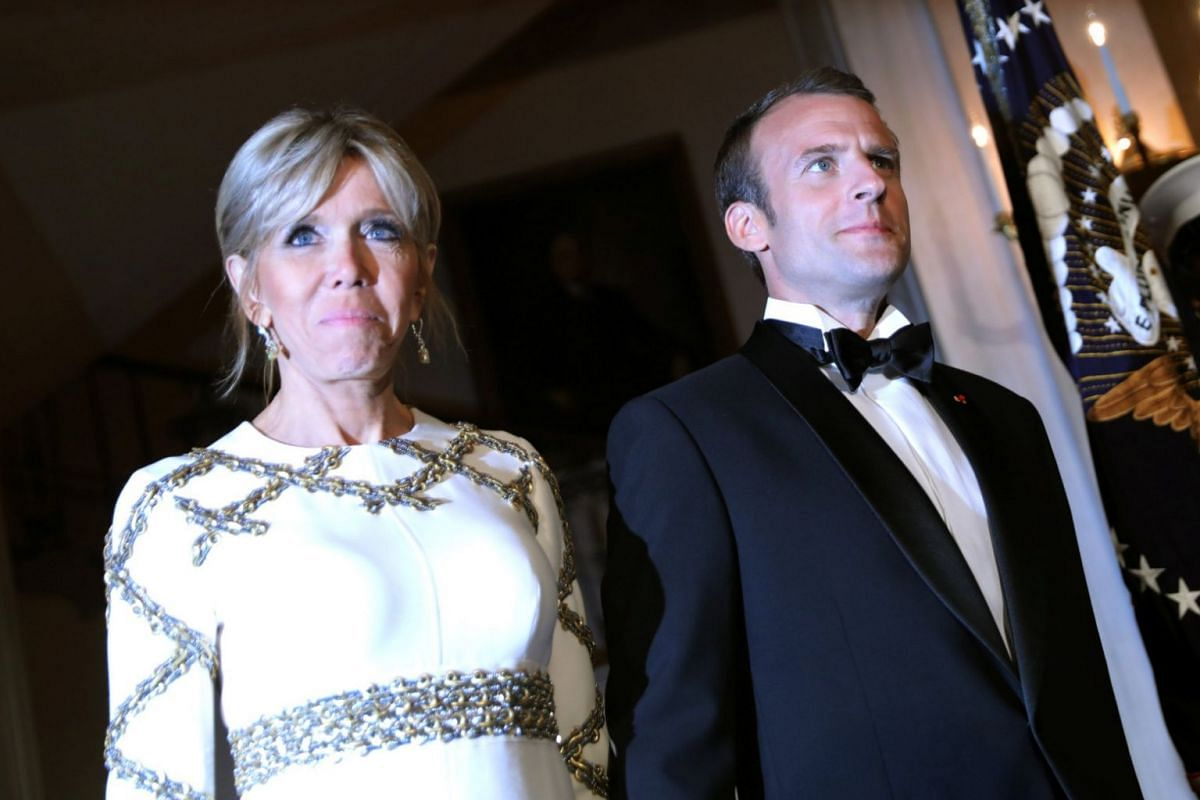 French President Emmanuel Macron and his wife Brigitte at the White House for the state dinner.