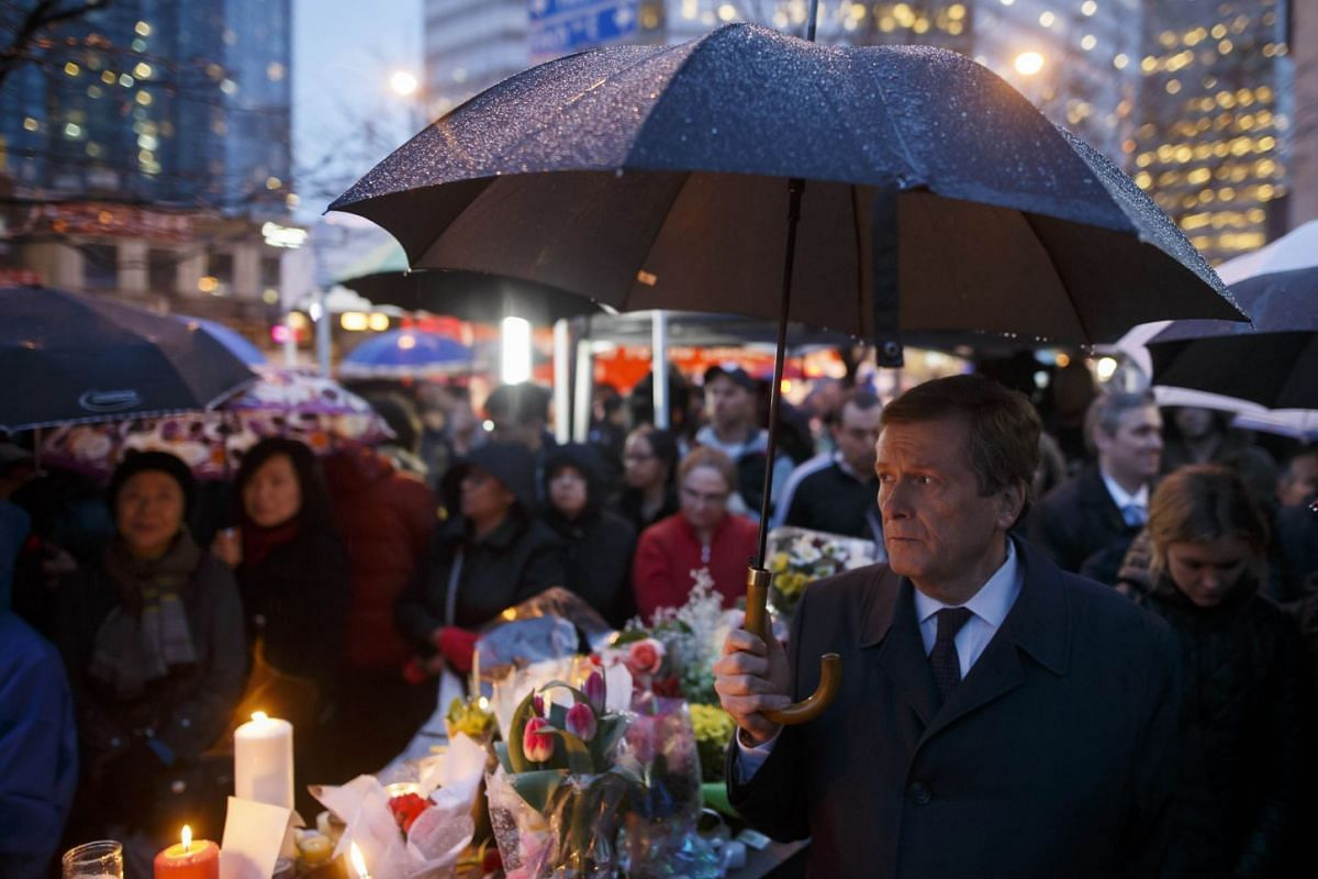 Toronto Mayor John Tory attends a vigil for the victims of the mass killing on April 24, 2018 in Toronto, Canada. A suspect identified by police as Alek Minassian, 25, is in custody after a driver in a white rental van yesterday sped onto a crowded s