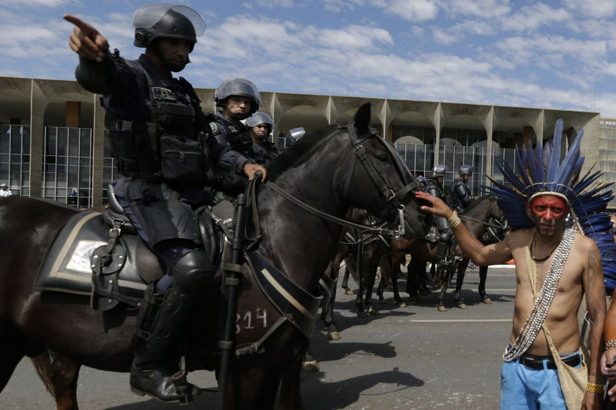 Indigenous protest at the 'Free Land' camp, set at the Ministries Esplanade, to demand the demarcation of their land for the survival of their people, in Brasilia, Brazil, 26 April 2018. Activists and Amazon indigenous groups protested against the go