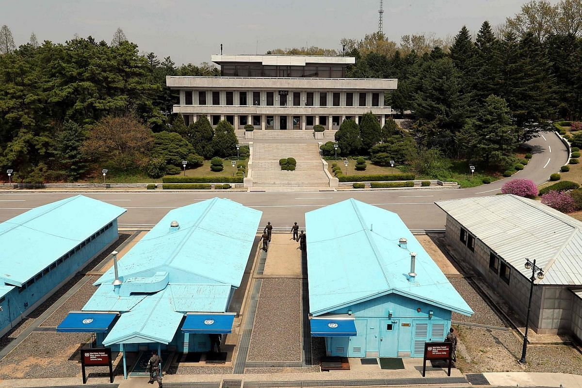 The truce village of Panmunjom in the demilitarised zone (DMZ) dividing the two Koreas on April 26, 2018 ahead of the inter-Korea summit.