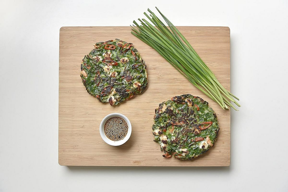 These chive pancakes are a twist on the Korean buchujeon.