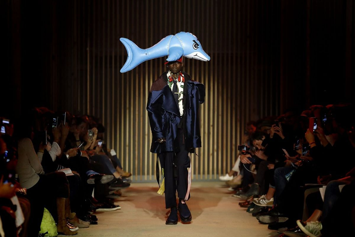 A model presents a creation by Dutch designers Rushemy Botter and Lisi Herrebrugh during the 33rd International Festival of Fashion and Photography, in Hyeres, southern France, April 29, 2018. Both designers won the 'Premiere Vision Grand Prize' at t