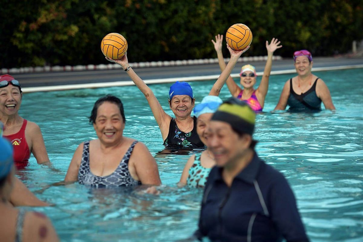In the shallow one metre pool at Toa Payoh Swimming Complex every Thursday morning, a bunch of elderly aunties gather to play the sport of what is affectionally termed as Ah Ma Flippa Ball.