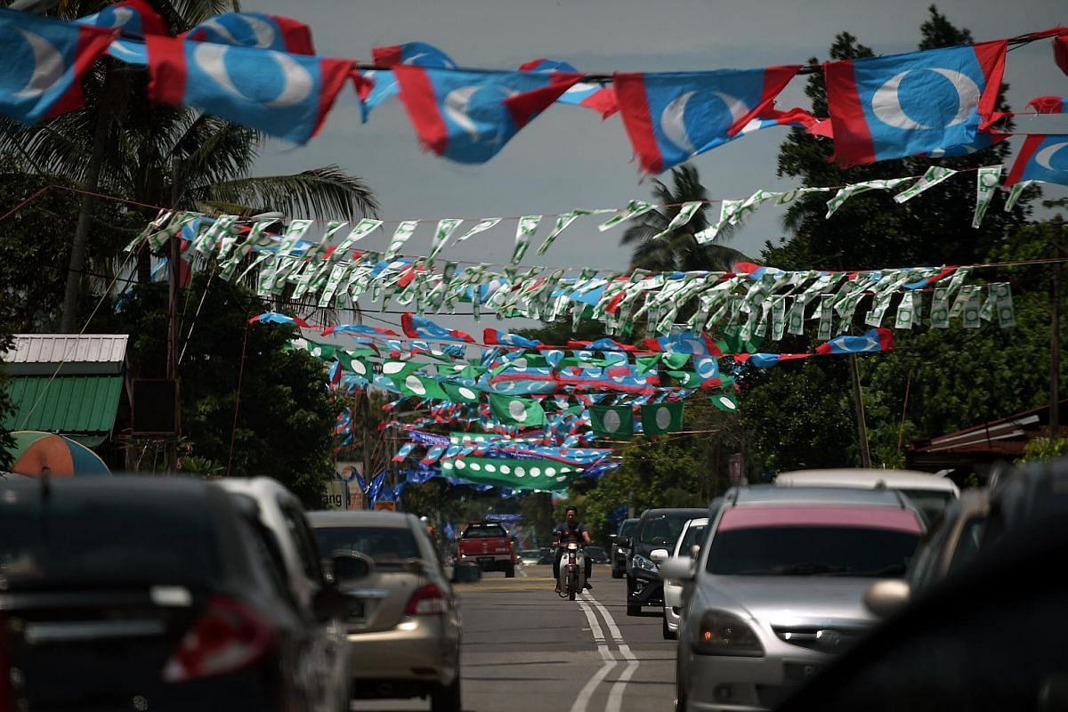 Party flags are seen in Permatang Pauh, Penang, on May 1, 2018.