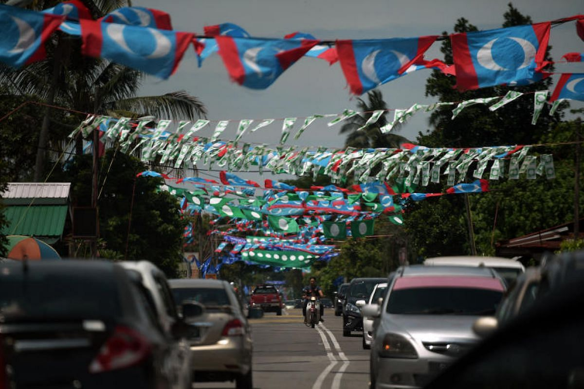 Party flags in Permatang Pauh in mainland Penang, on May 1, 2018.