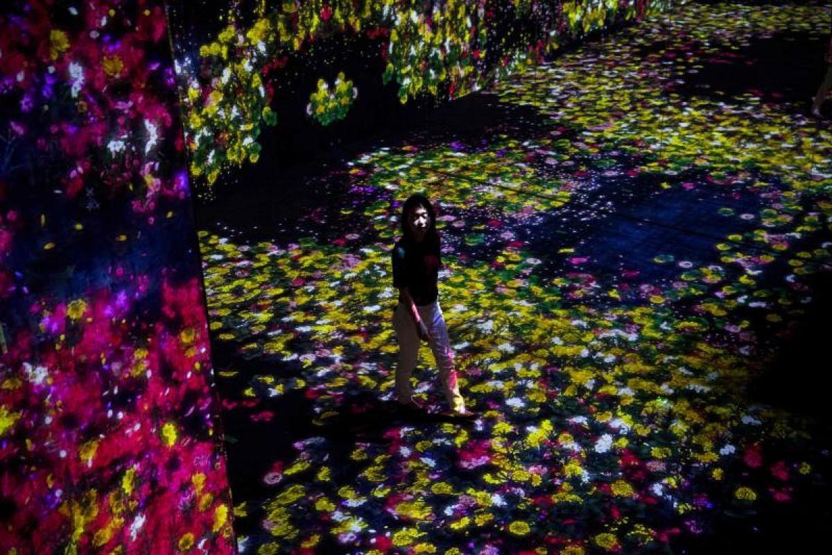 A digital installation flower-filled room at Mori Building Digital Art Museum in Tokyo on May 1, 2018.