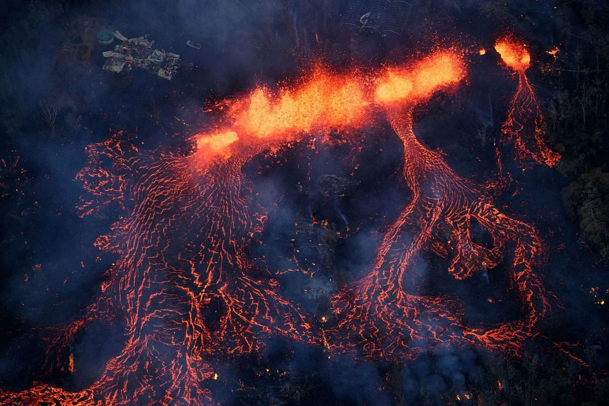 Activity continues on Kilauea's east rift zone, as a fissure eruption fountains more than 200 feet into the air, consuming all in its path., near Pahoa, Hawaii, USA, May 6, 2018. A local state of emergency has been declared after Mount Kilauea erupte