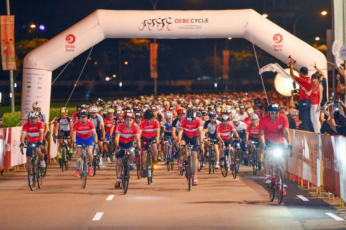 Participants of OCBC Cycle's Sportive Ride making their way off the starting point at the Singapore Sports Hub on May 6, 2018.