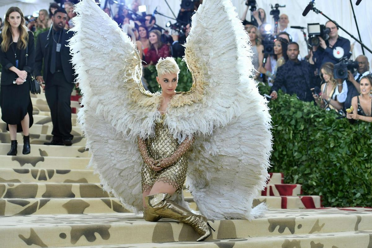 Katy Perry arrives for the 2018 Met Gala on May 7, 2018, at the Metropolitan Museum of Art in New York. PHOTO: AFP