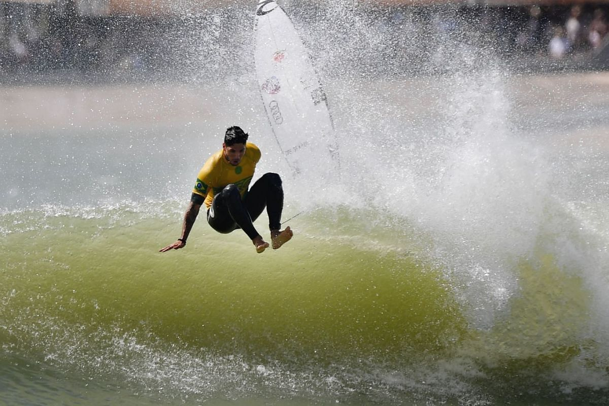 Gabriel Medina of Brazil wipes out during the qualifiers for the final of the World Surf League (WSL) Founders' Cup of Surfing, at the Kelly Slater Surf Ranch in Lemoore, California on May 6, 2018. PHOTO: AFP