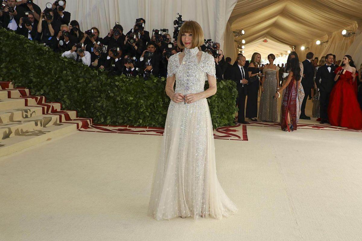 Editor Anna Wintour is all restrained elegance in white.