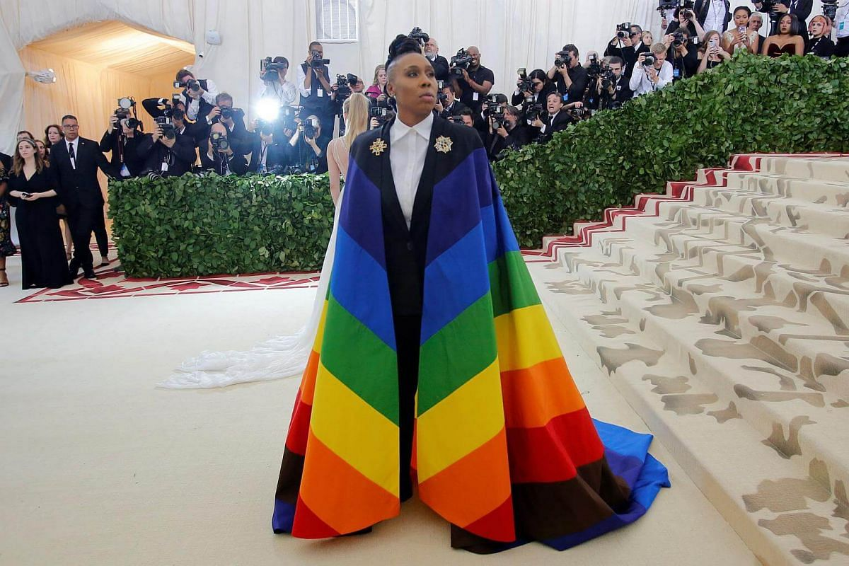 Writer-actress Lena Waithe makes a colourful statement in her rainbow cape.