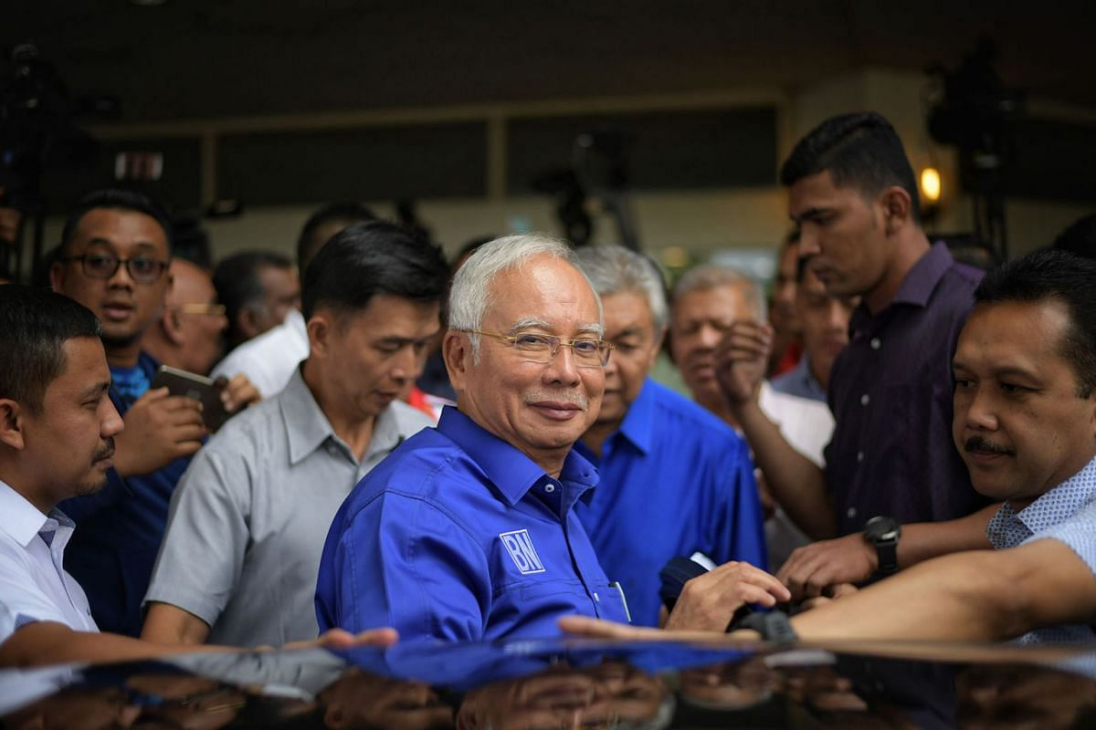 Former Prime Minister of Malaysia, Dato' Sri Najib Razak leaves after making a statement at Umno headquarters in Putra World Trade Centre on 10 May 2018. ST PHOTO: ARIFFIN JAMAR