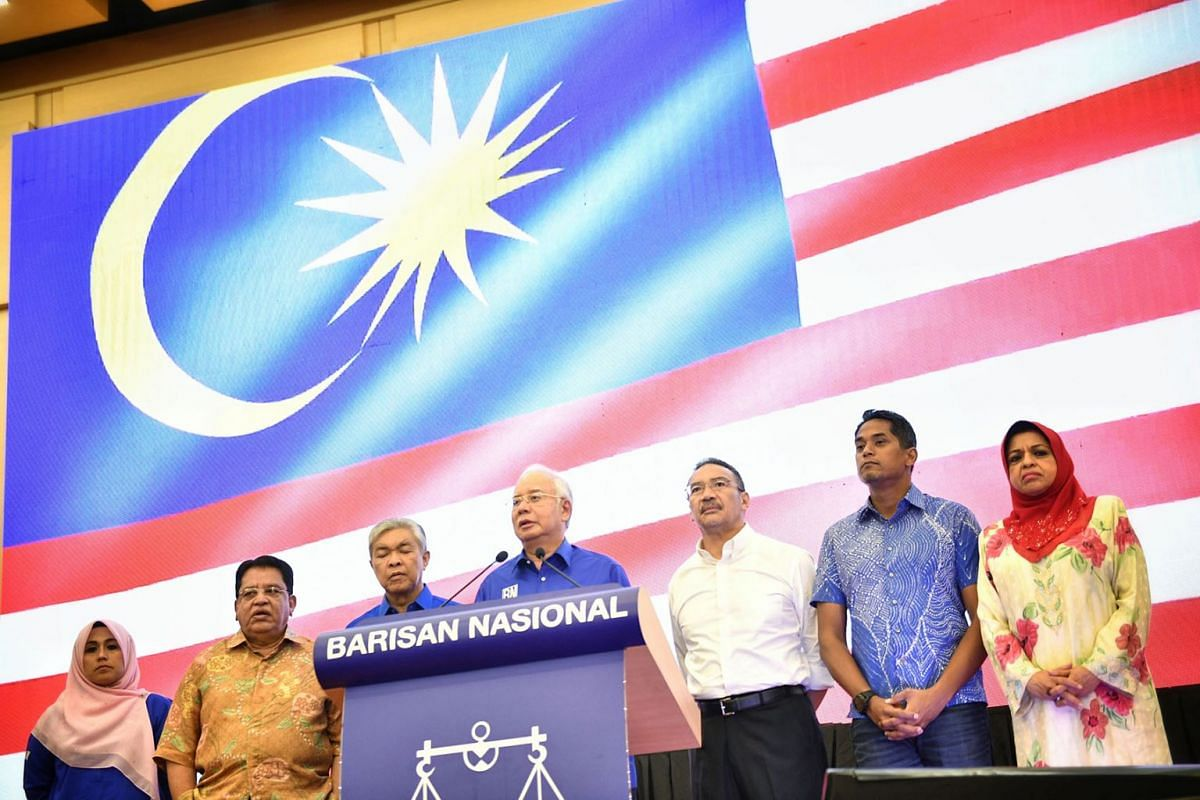 PM Najib Razak speaks at a press conference at Umno headquarters in Putra World Trade Centre  on May 10, 2018, a day after Malaysia's general election. ST PHOTO: ARIFFIN JAMAR