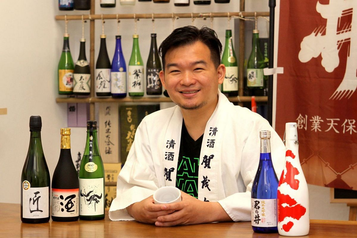 Sake sommelier Adrian Goh recommends (on the table, from left) Keigetsu John Sparkling Sake Daiginjo, Kamoizumi Shusen Junmai Ginjo, Senkin Modern Muku Junmai Daiginjo, Kiminoi Junmai Daiginjo Yamahai and Imayotsukasa Koi Nishikigoi.