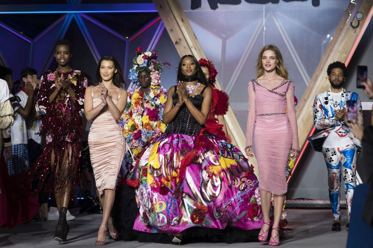 Models (from left to right) Maria Borges, Bella Hadid, Naomi Campbell and Natalia Vodianova walk the runway at Fashion For Relief show during the 71st annual Cannes Film Festival at Aeroport Cannes Mandelieu in Cannes, France.