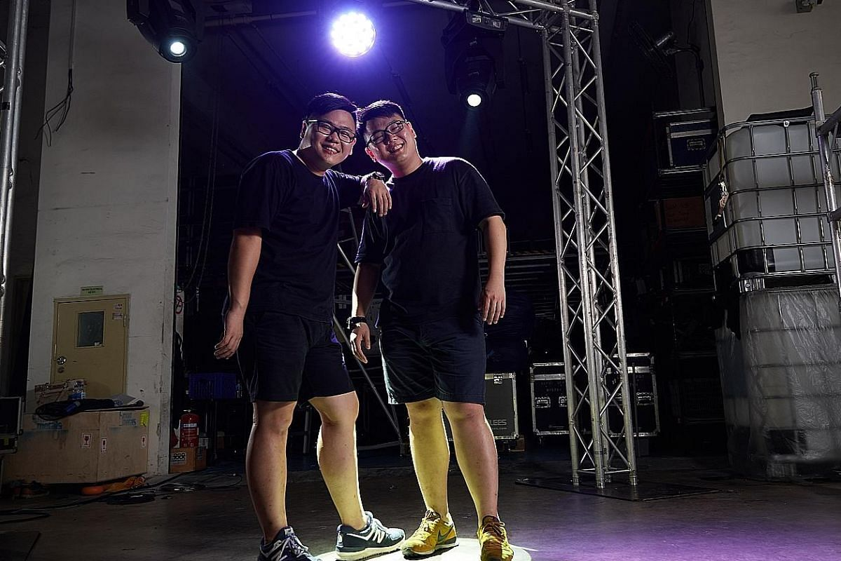 Freelance lighting engineer Tay Zhao Kai (left) and sound engineer Tay Zhao Xuan learnt the trade mostly by asking seniors for tips and watching YouTube videos.