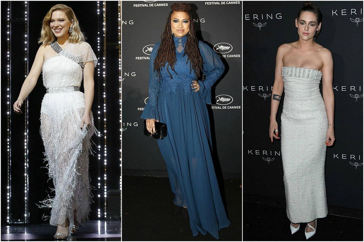 For the opening ceremony on May 8, 2018, Seydoux (left) went for 1930s movie star glamour in a feathery gown with a Grecian detail and softly waved hair. From what we can see at the Women In Motion Honor Awards, director DuVernay (centre) favours mod