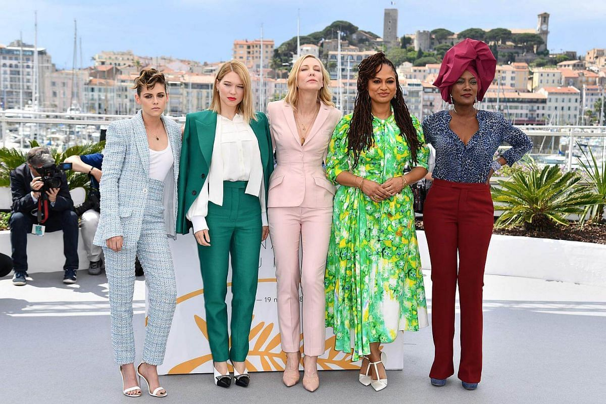 Members of the jury Kristen Stewart, Lea Seydoux, Cate Blanchett, director Ava DuVernay and Burundian singer Khadja Nin pose for a photocall before the opening of the festival on May 8, 2018.