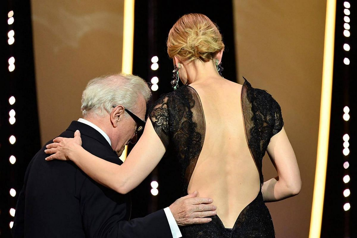For the opening ceremony on May 8, 2018, Blanchett chose a lace confection which looked schoolmarm demure in front but revealed a dramatic sculpted back.