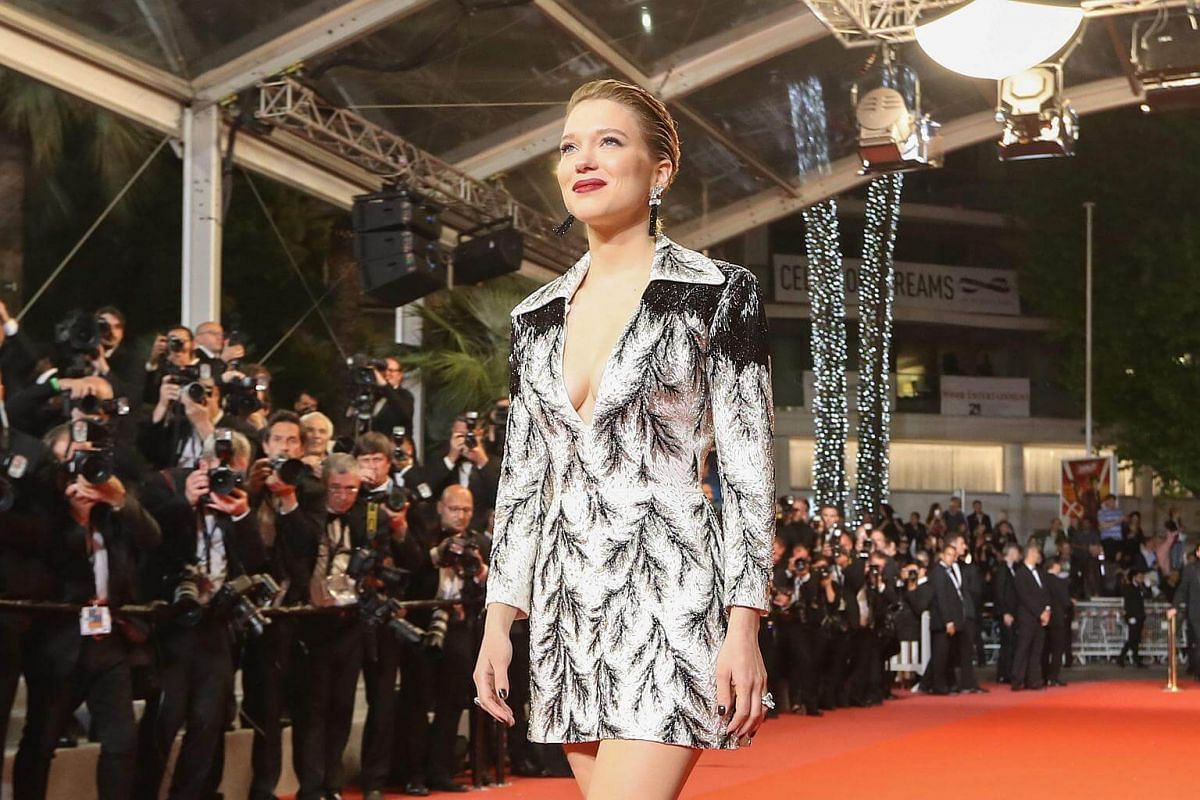 French actress and fellow jury member Lea Seydoux at the premiere of Cold War on May 10, 2018. She channeled Sally Bowles in this structured sequinned jacket dress, accented by slicked back hair and sexy red lips.