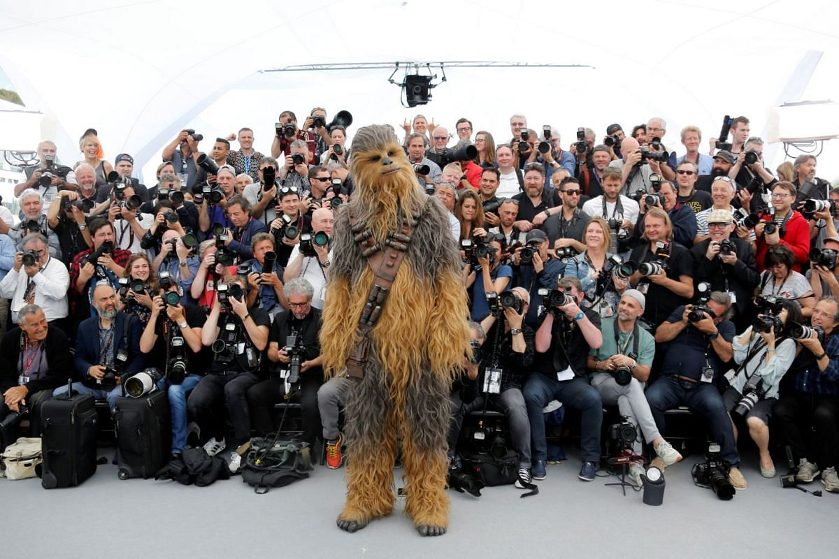 "Cast member Chewbacca at the photocall for the film ""Solo: A Star Wars Story"" Out of Competition at the 71st Cannes Film Festival  in Cannes, France, May 15, 2018. PHOTO: REUTERS"