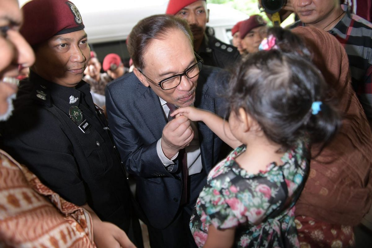 Mr Anwar Ibrahim arrives home after he was released from Cheras Rehabilitation Hospital in Kuala Lumpur.