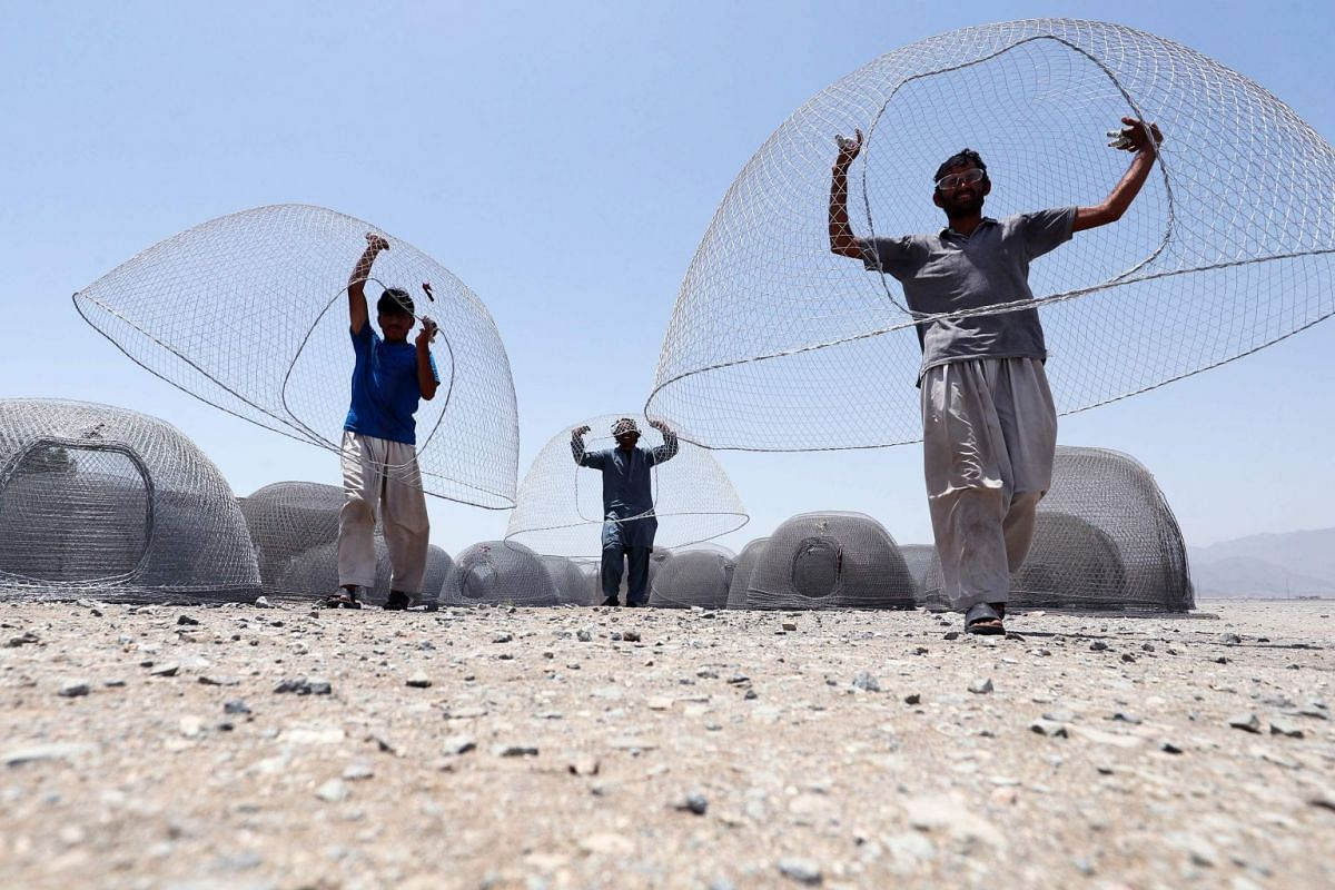 """A photo released on May 17, 2018 shows Afghani men carrying cages used for fishing in the United Arab Emirates in eastern coastal town of Kalba on May 8, 2018. PHOTO"""" AFP"""