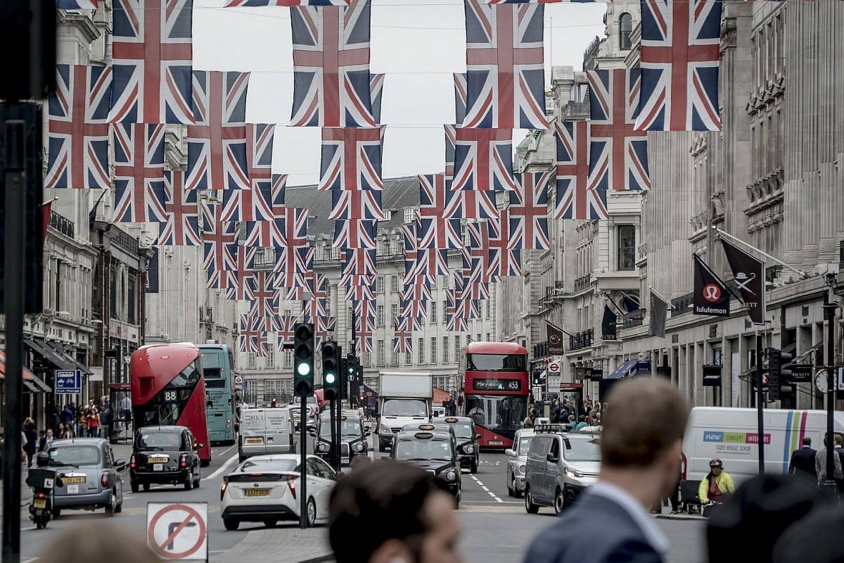 Union Jack flags fill Regent Street days before there wedding between Meghan Markle and Prince Harry, in London, on May 16, 2018.