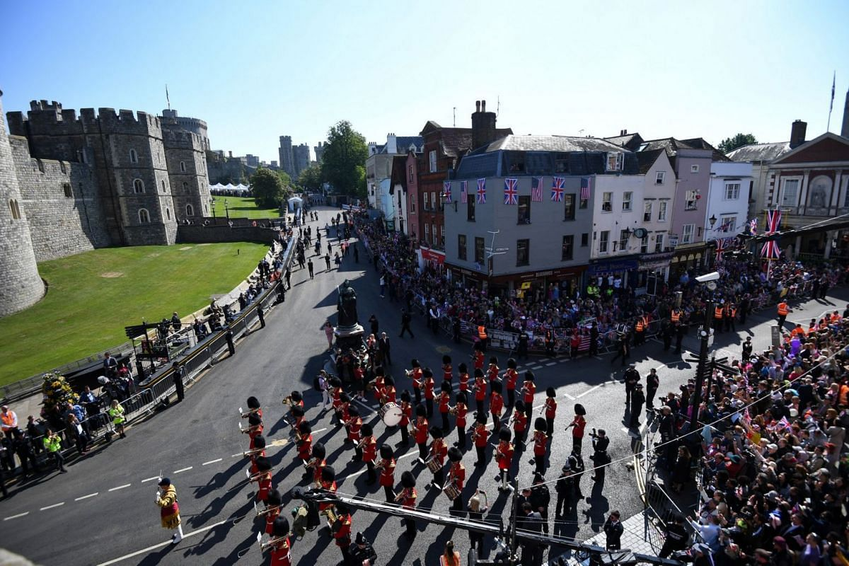 The Queen's Guard band marches ahead of the wedding of Prince Harry and Meghan Markle in Windsor on May 19, 2018.