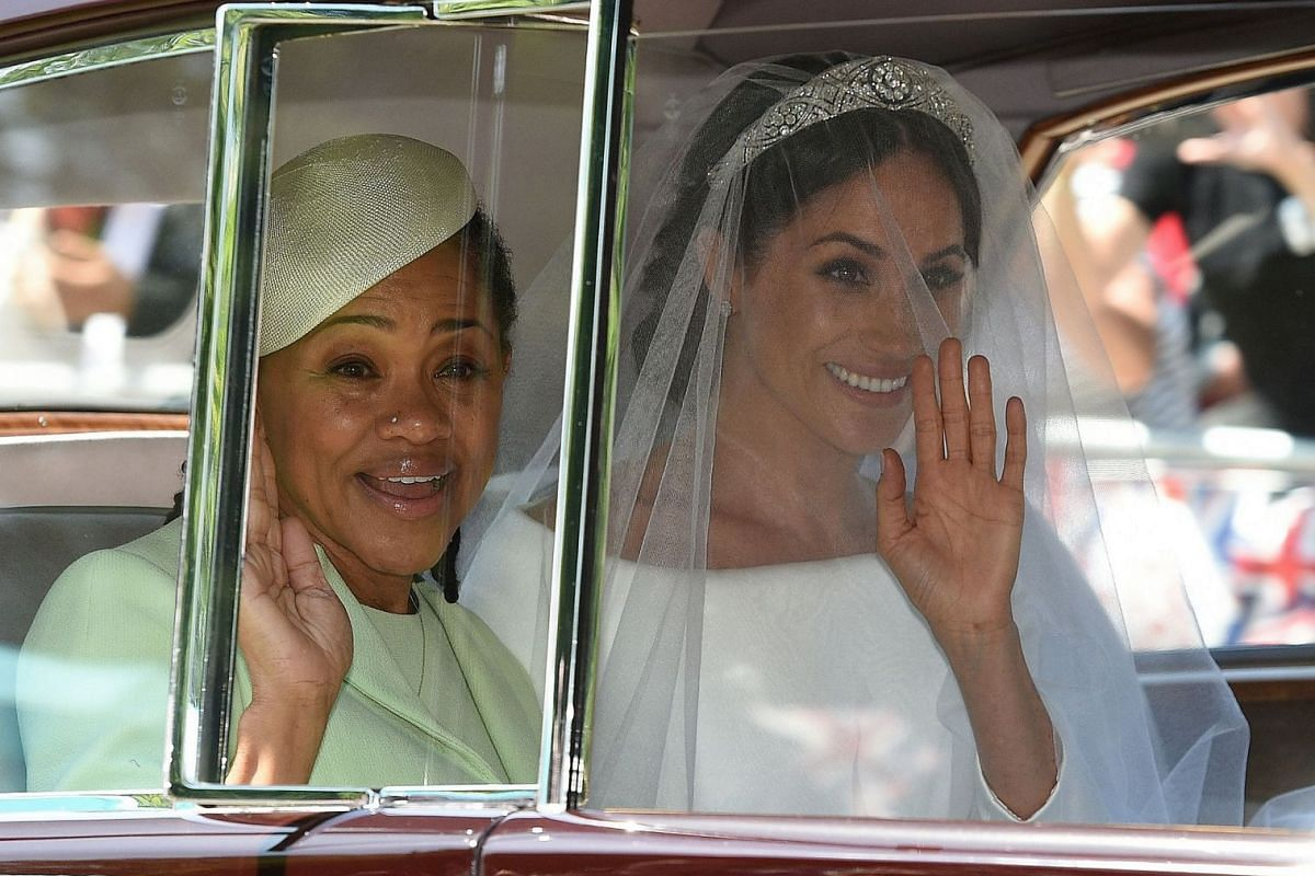 Meghan Markle and her mother, Doria Ragland, arrive for her wedding to Britain's Prince Harry at St George's Chapel at Windsor Castle on May 19, 2018.
