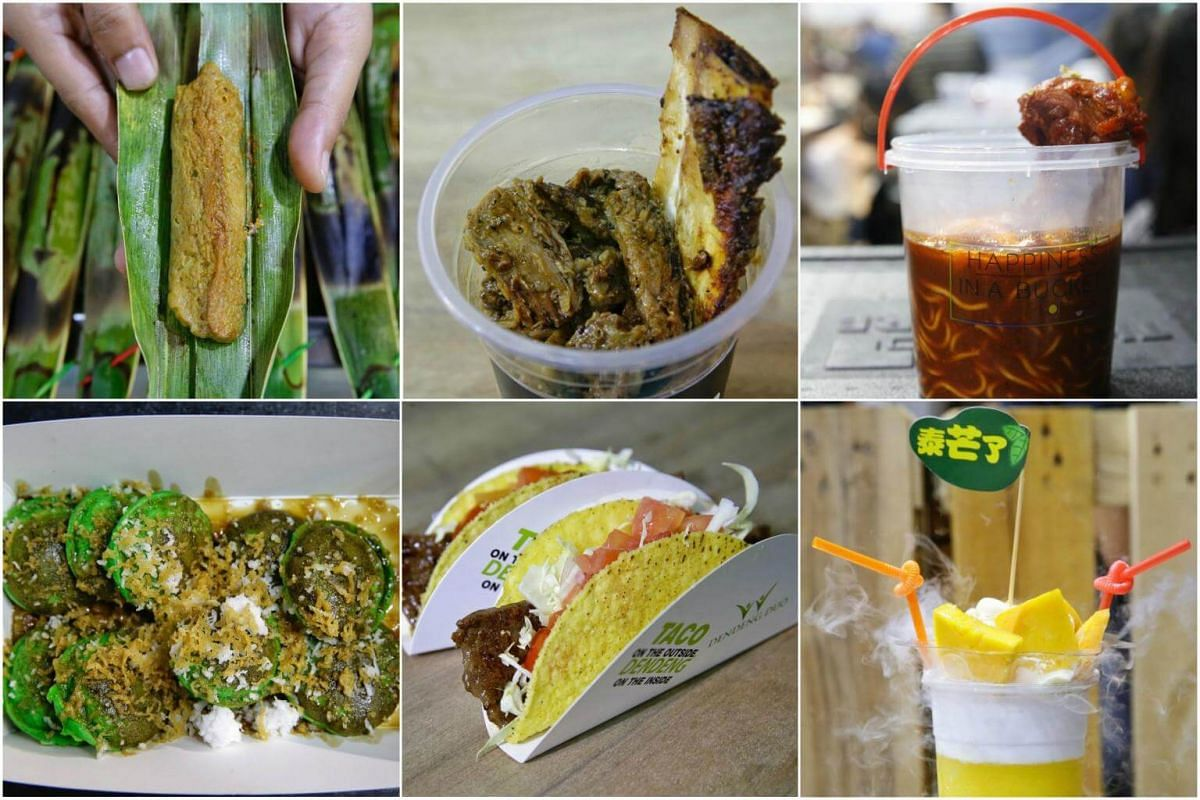 (Clockwise from top left) Otah, Beef Ribs with Briyani Rice, Mee Kuah Tulang, Mango Parfait-slushy, Taco Dendeng, Ondeh Ondeh Poffertjes are some items offered at the annual Hari Raya Bazaar.