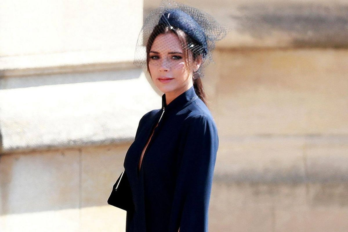 British fashion designer Victoria Beckham arrives for the royal wedding ceremony at St George's Chapel on May 19, 2018.