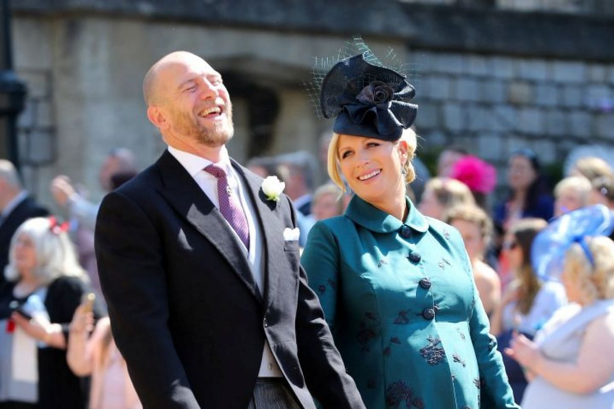 British equestrian Zara Tindall and her husband Mike Tindall arrive for the royal wedding ceremony at St George's Chapel on May 19, 2018.
