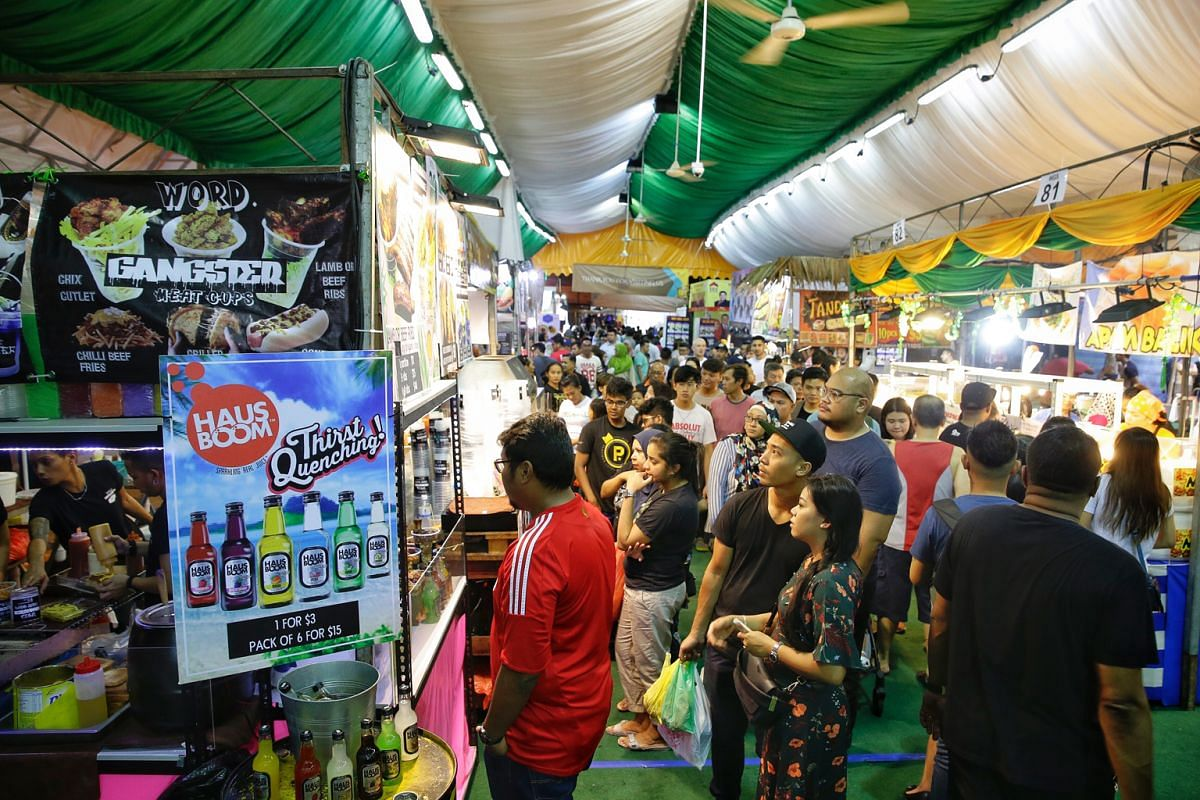 Bazaars such as the one in Geylang Serai, offer a mindboggling array of food to break fast with.