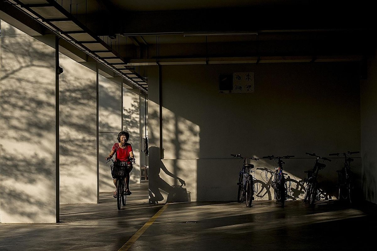 Mr Peh Siong San shot this picture of a red-clad woman riding her bicycle under the golden glow of the morning light to win a merit prize in the Open category. Ms Chen Wen Yun shot this picture at Bedok South of a group of seniors passionate about Ch