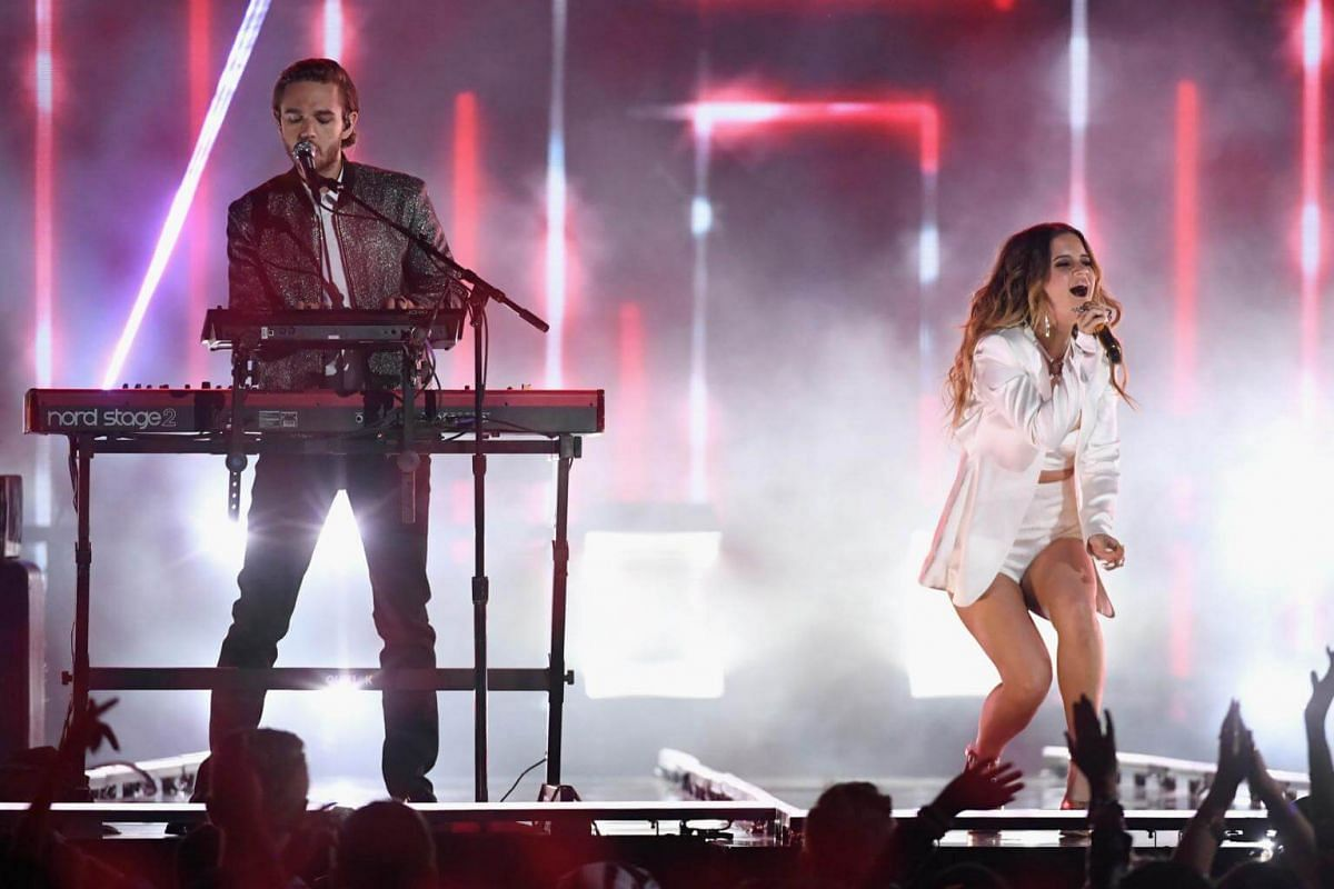 Zed (left) and Maren Morris perform onstage during the 2018 Billboard Music Awards, on May 20, 2018.