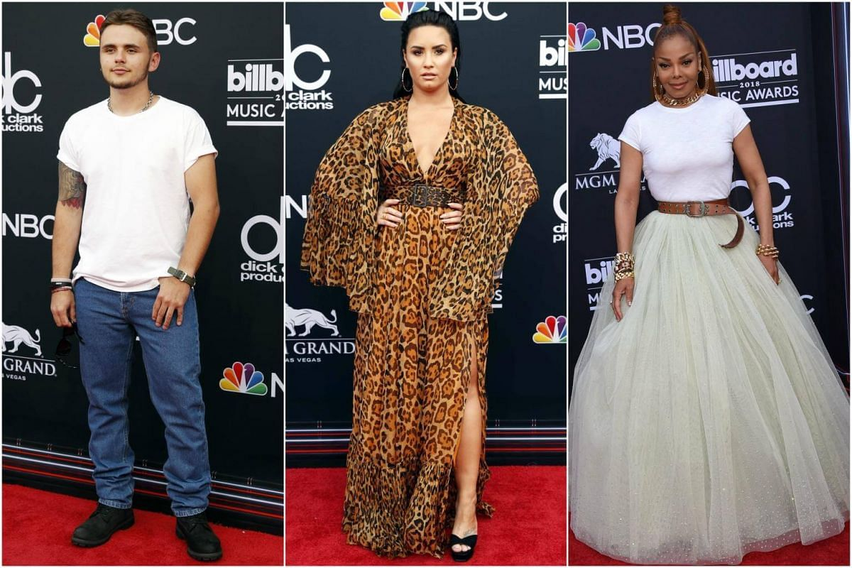 (From left) Prince Jackson, Demi Lovato and Janet Jackson attend the 2018 Billboard Music Awards, on May 20, 2018.